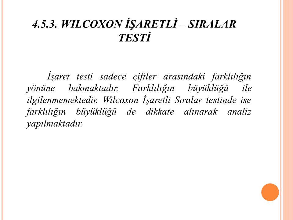 4.5.3. WILCOXON İŞARETLİ – SIRALAR TESTİ