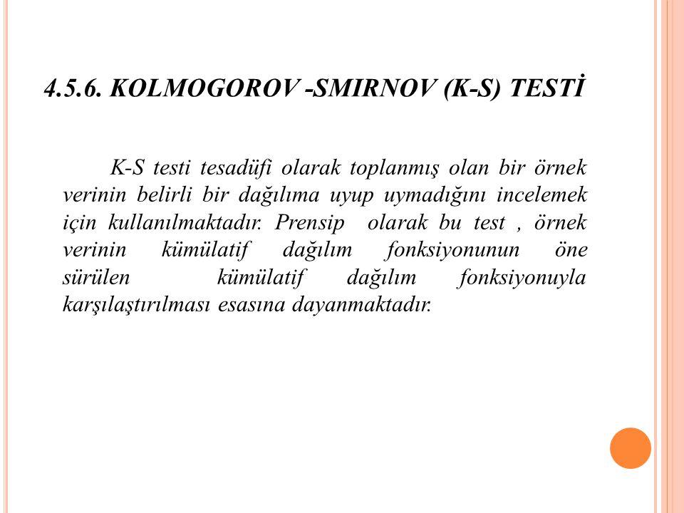 4.5.6. KOLMOGOROV -SMIRNOV (K-S) TESTİ