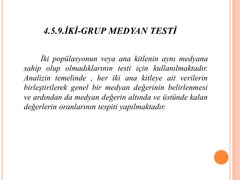 4.5.9.İKİ-GRUP MEDYAN TESTİ