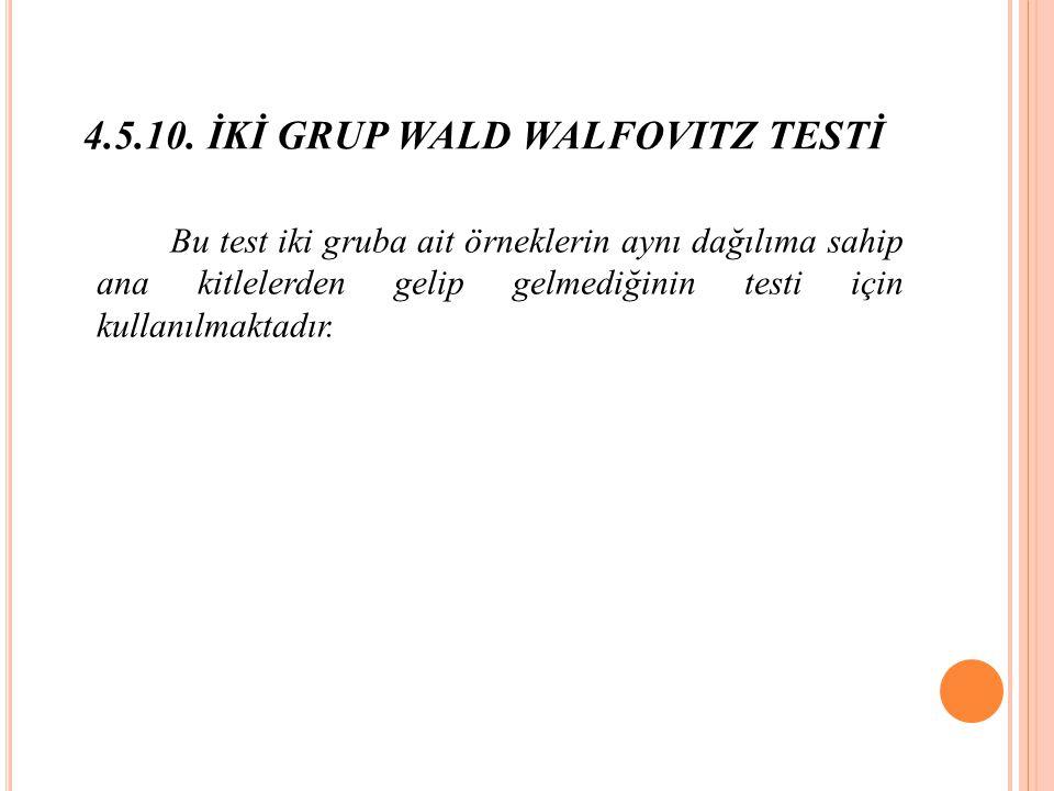 4.5.10. İKİ GRUP WALD WALFOVITZ TESTİ