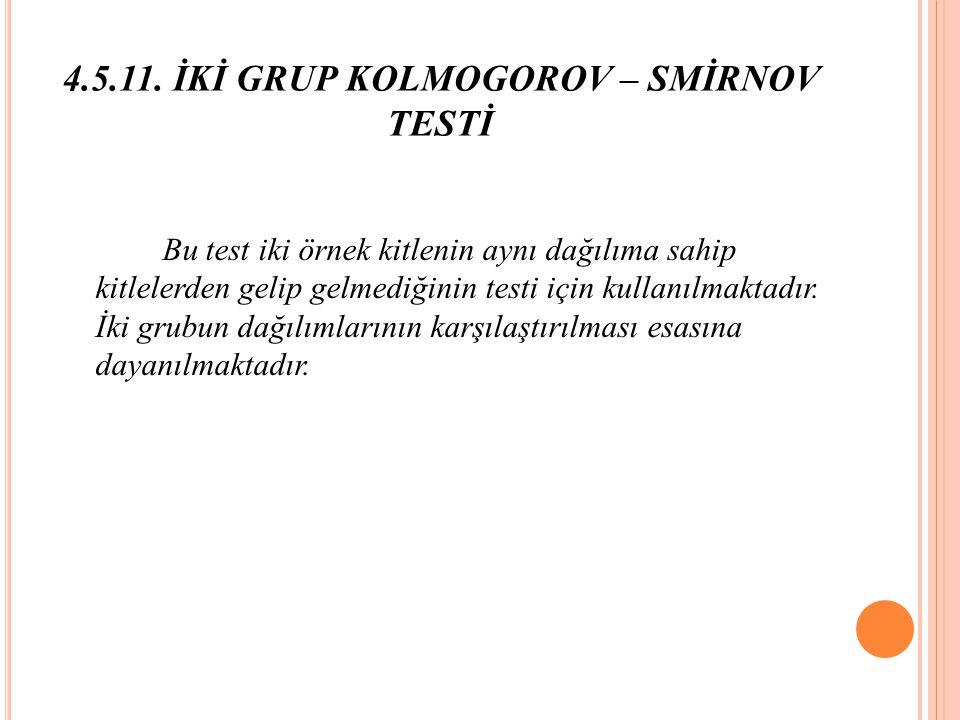 4.5.11. İKİ GRUP KOLMOGOROV – SMİRNOV TESTİ