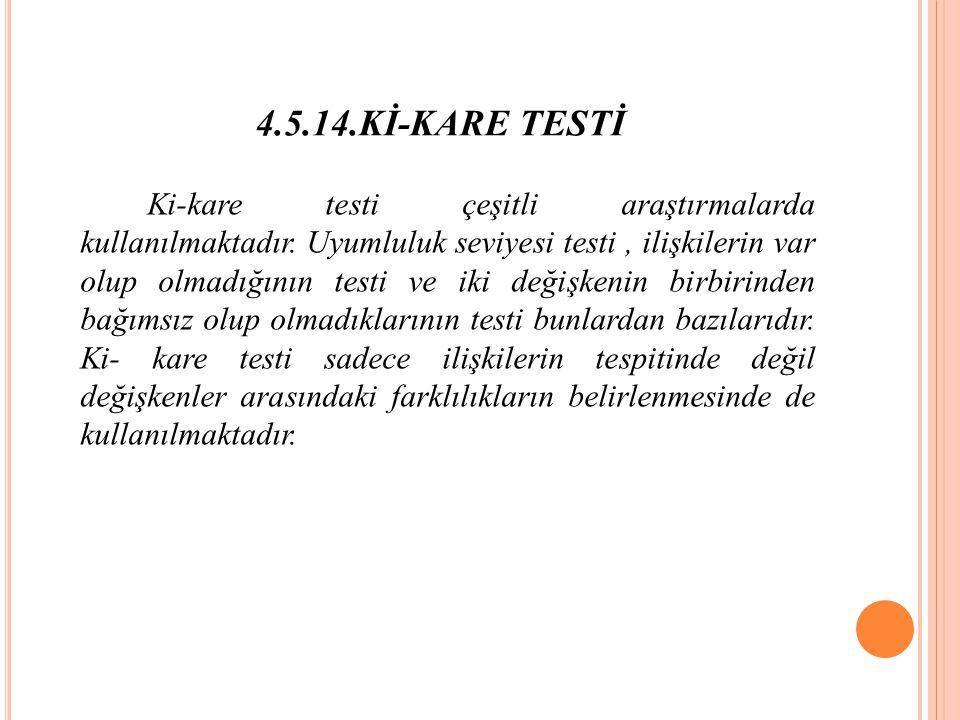 4.5.14.Kİ-KARE TESTİ