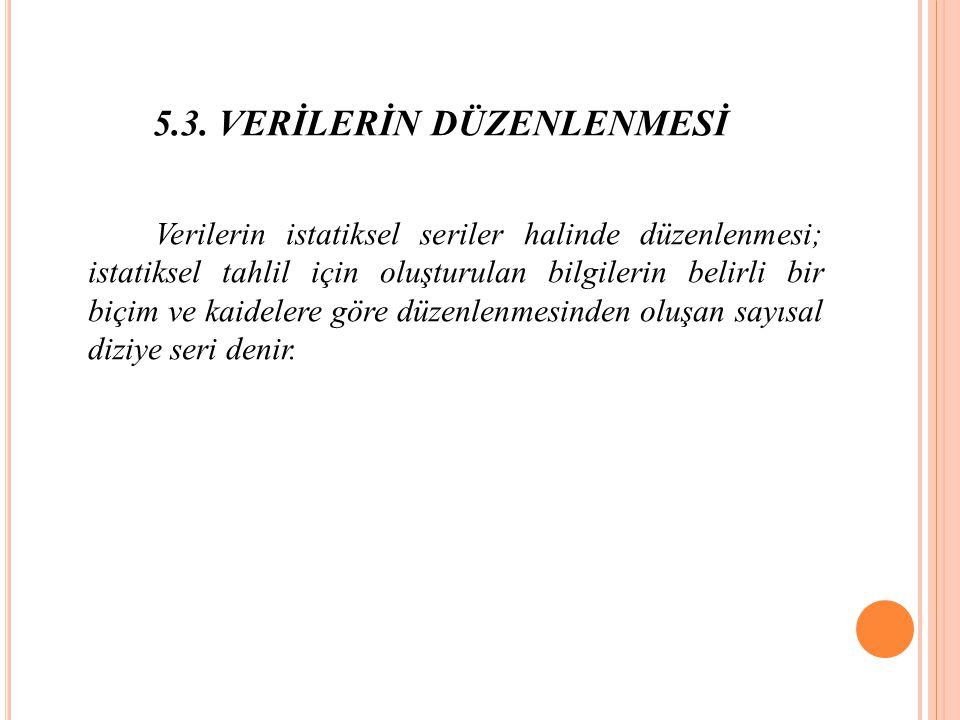 5.3. VERİLERİN DÜZENLENMESİ
