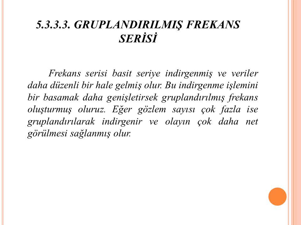 5.3.3.3. GRUPLANDIRILMIŞ FREKANS SERİSİ