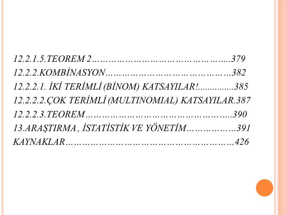12. 2. 1. 5. TEOREM 2…………………………………………. 379 12. 2. 2