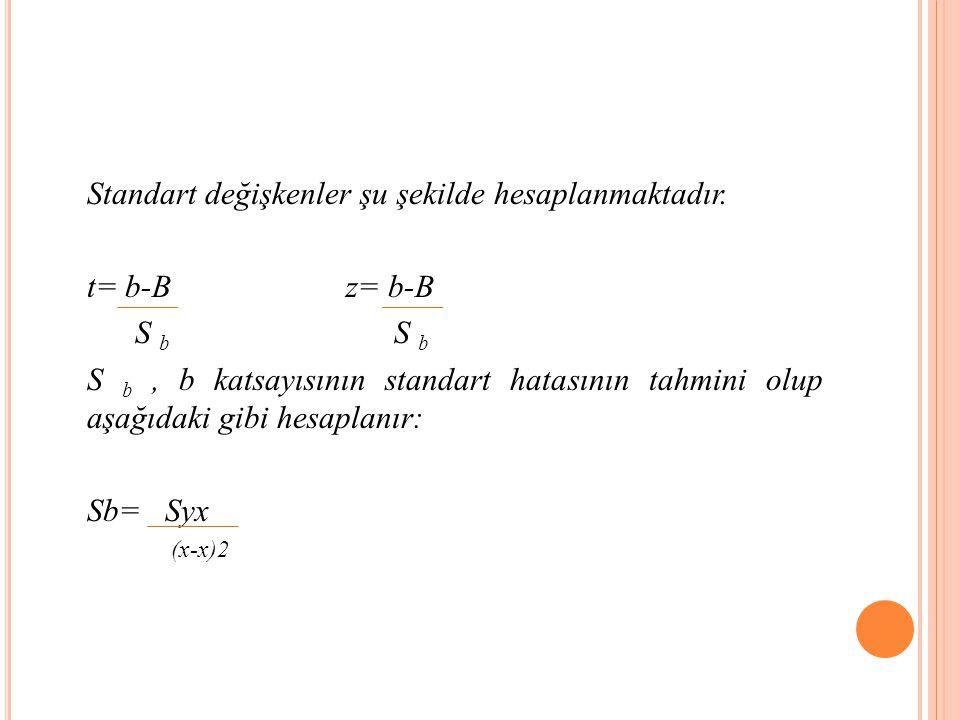 Standart değişkenler şu şekilde hesaplanmaktadır. t= b-B z= b-B
