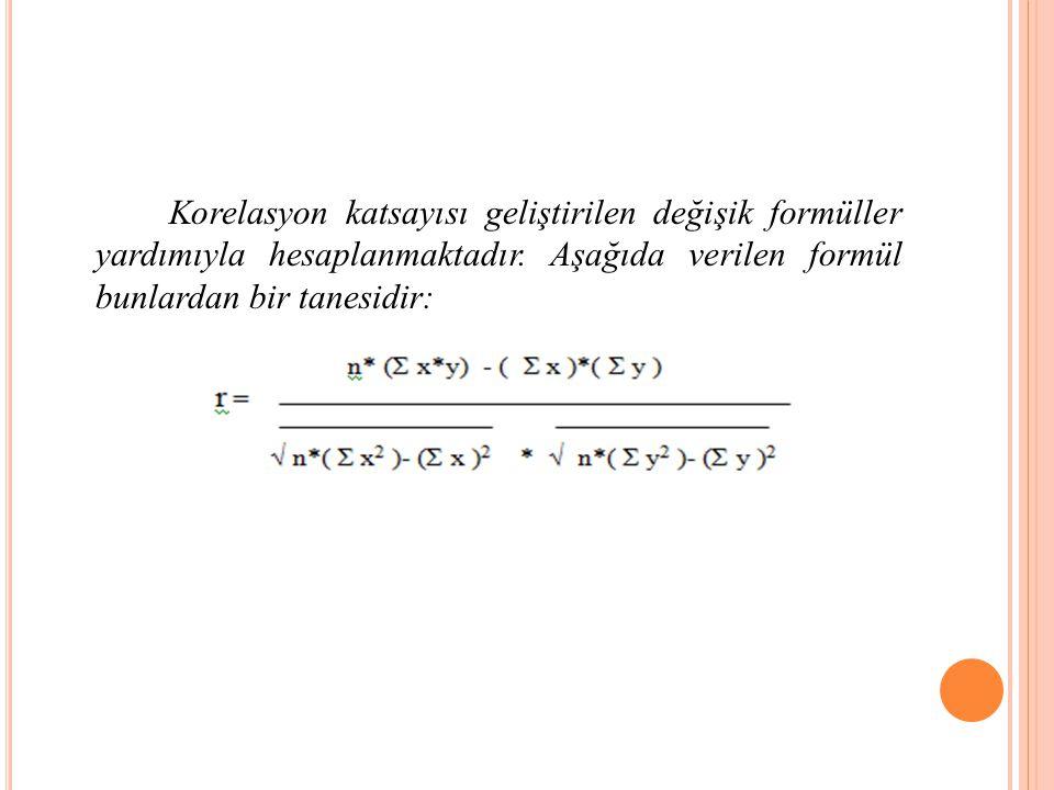 Korelasyon katsayısı geliştirilen değişik formüller yardımıyla hesaplanmaktadır.