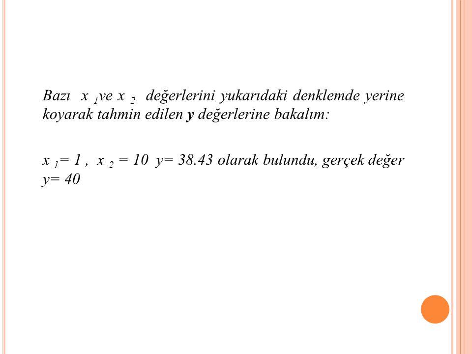 Bazı x 1ve x 2 değerlerini yukarıdaki denklemde yerine koyarak tahmin edilen y değerlerine bakalım: