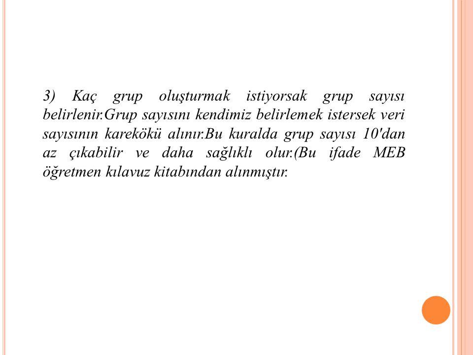 3) Kaç grup oluşturmak istiyorsak grup sayısı belirlenir