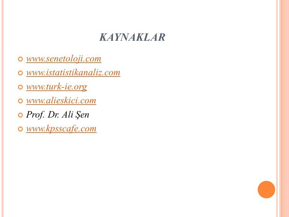 KAYNAKLAR www.senetoloji.com www.istatistikanaliz.com www.turk-ie.org