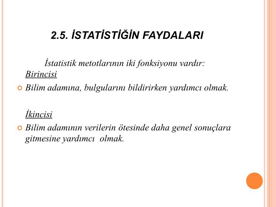 2.5. İSTATİSTİĞİN FAYDALARI