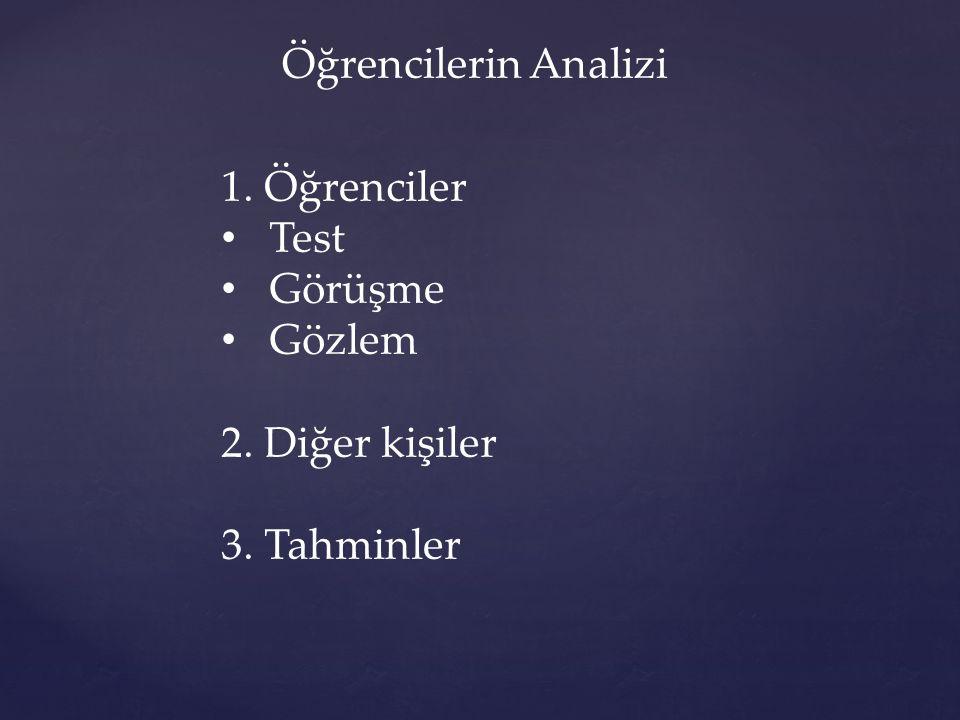 Öğrencilerin Analizi 1. Öğrenciler Test Görüşme Gözlem 2. Diğer kişiler 3. Tahminler