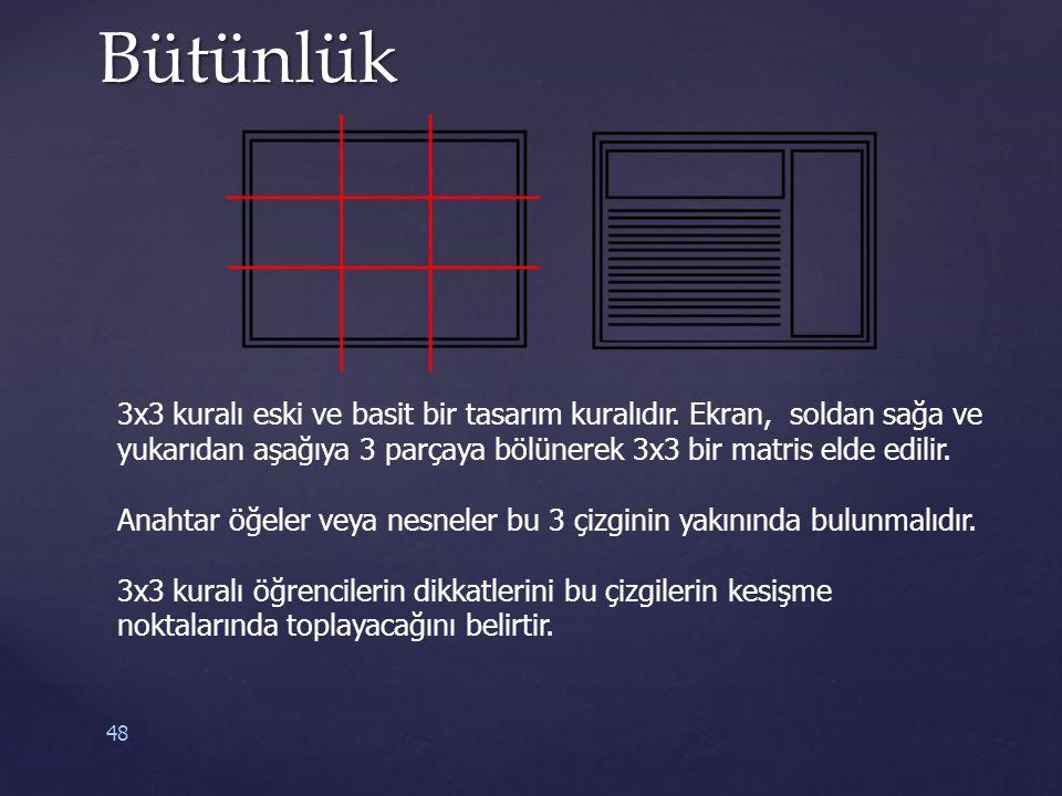 Bütünlük 3x3 kuralı eski ve basit bir tasarım kuralıdır. Ekran, soldan sağa ve yukarıdan aşağıya 3 parçaya bölünerek 3x3 bir matris elde edilir.