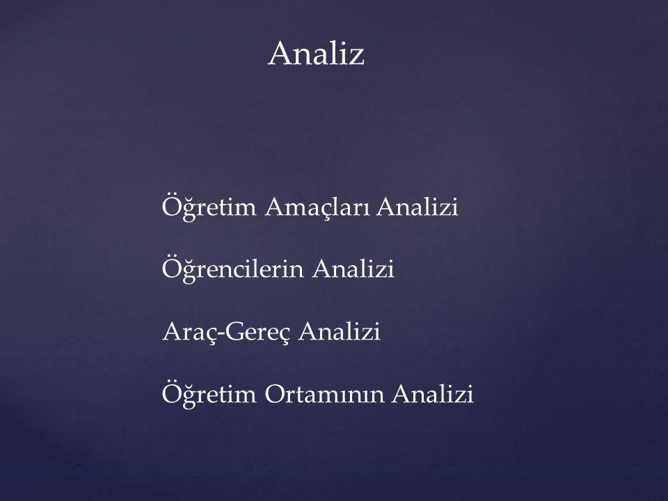 Analiz Öğretim Amaçları Analizi Öğrencilerin Analizi