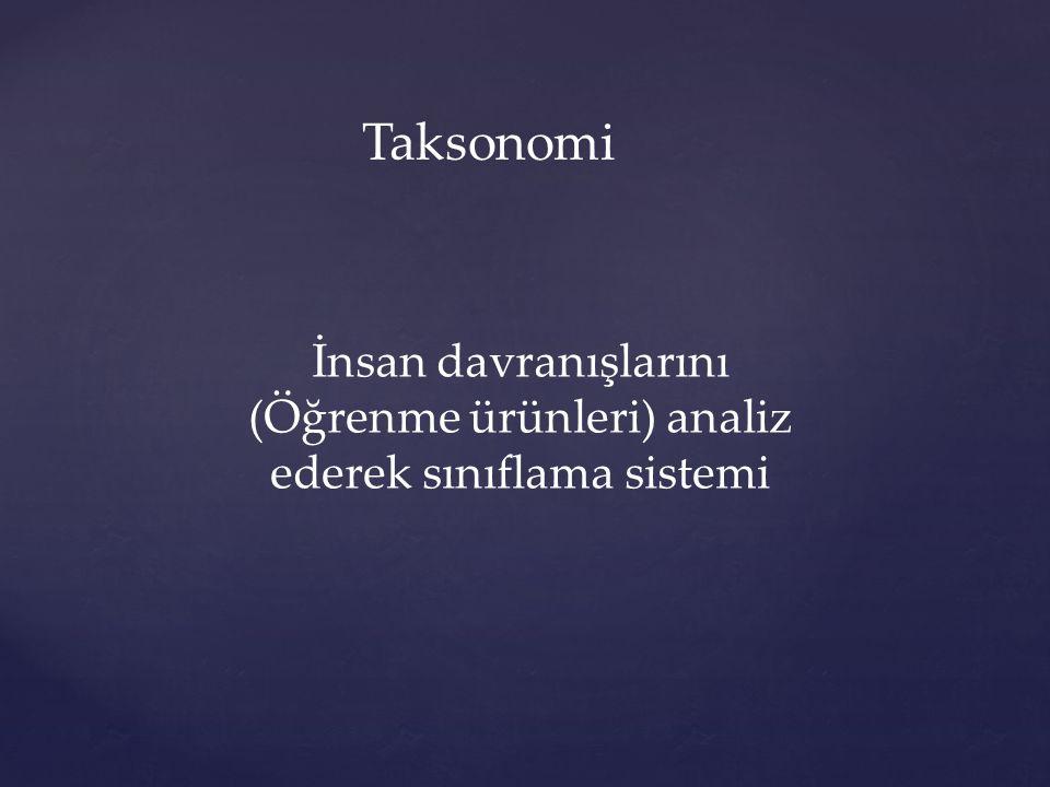 Taksonomi İnsan davranışlarını (Öğrenme ürünleri) analiz ederek sınıflama sistemi