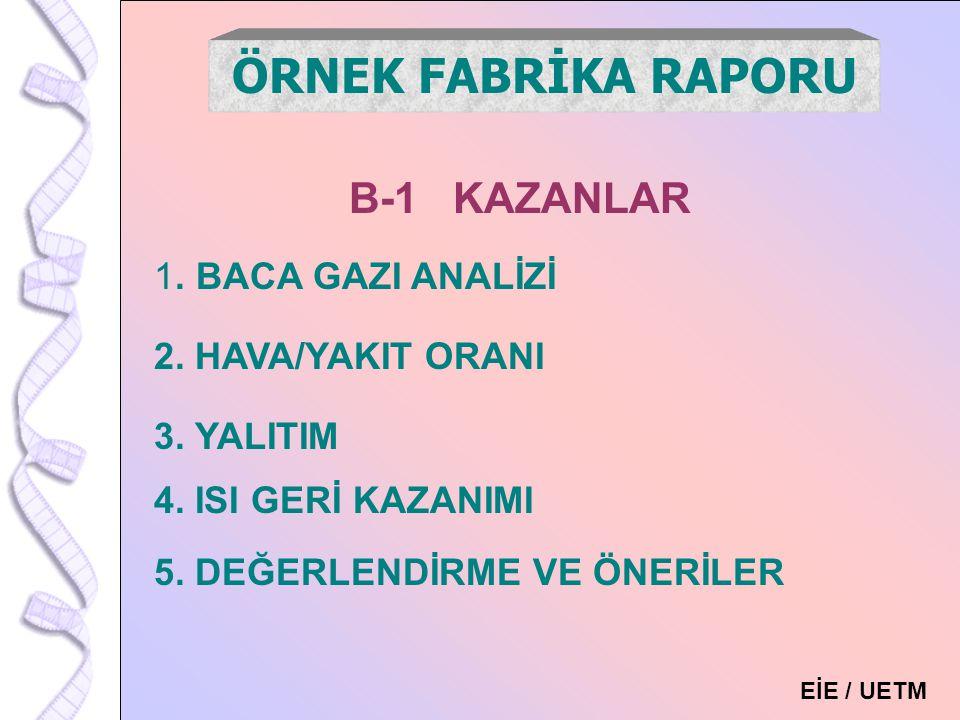 ÖRNEK FABRİKA RAPORU B-1 KAZANLAR . BACA GAZI ANALİZİ
