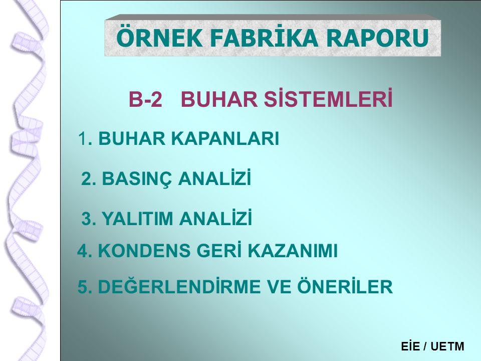 ÖRNEK FABRİKA RAPORU B-2 BUHAR SİSTEMLERİ . BUHAR KAPANLARI