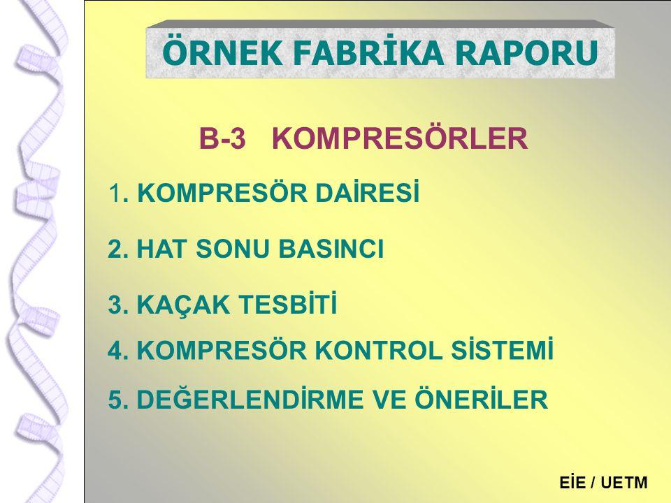 ÖRNEK FABRİKA RAPORU B-3 KOMPRESÖRLER . KOMPRESÖR DAİRESİ