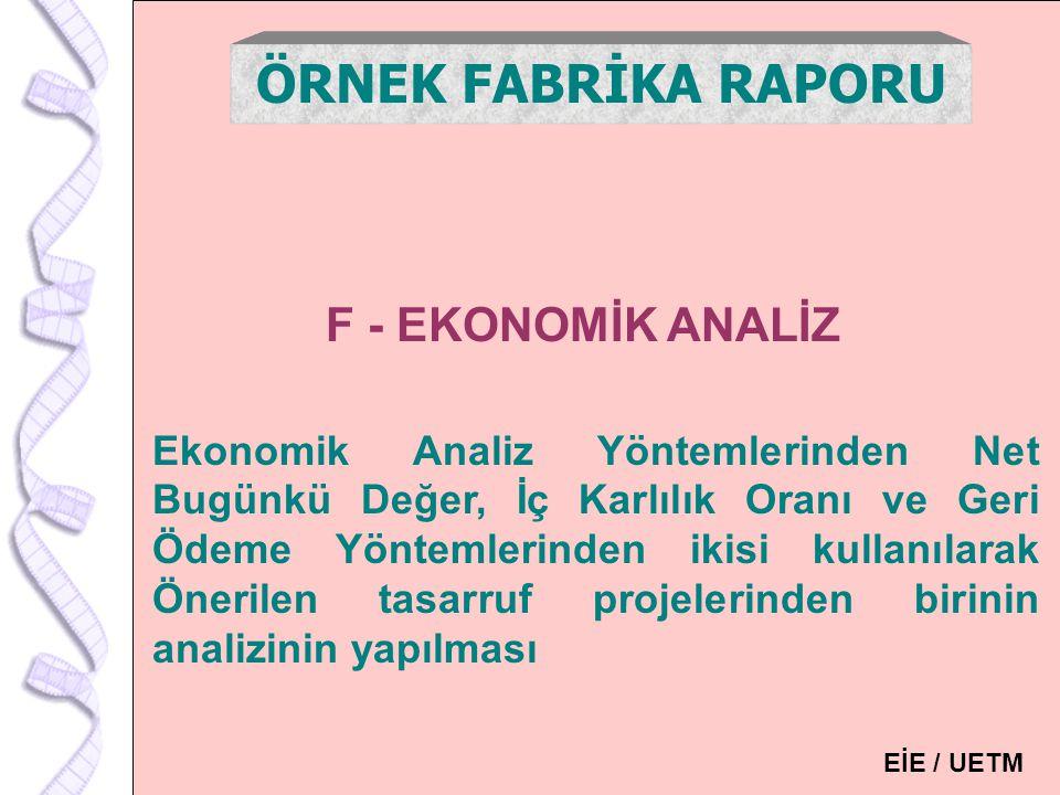 ÖRNEK FABRİKA RAPORU F - EKONOMİK ANALİZ