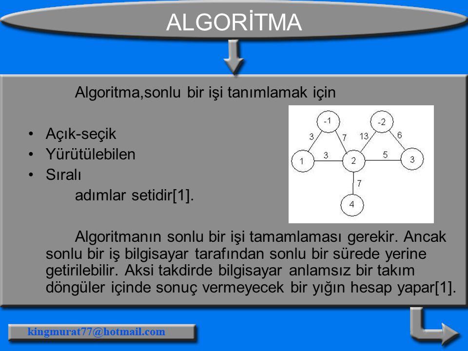 ALGORİTMA Algoritma,sonlu bir işi tanımlamak için Açık-seçik