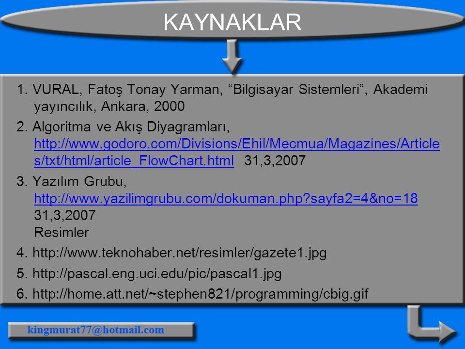 KAYNAKLAR 1. VURAL, Fatoş Tonay Yarman, Bilgisayar Sistemleri , Akademi yayıncılık, Ankara, 2000.