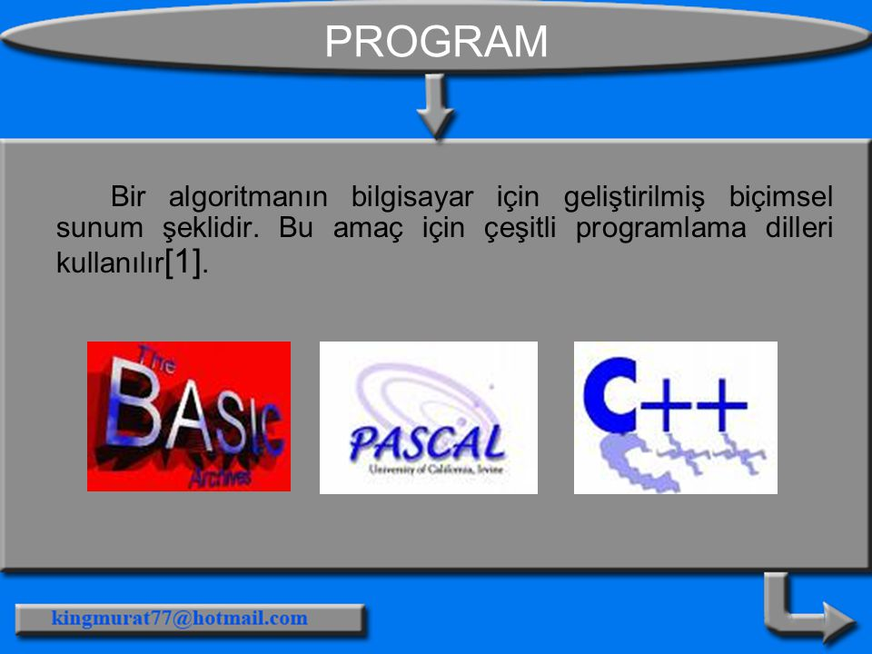 PROGRAM Bir algoritmanın bilgisayar için geliştirilmiş biçimsel sunum şeklidir.