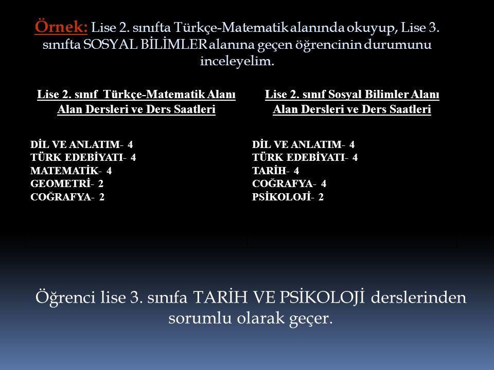 Örnek: Lise 2. sınıfta Türkçe-Matematik alanında okuyup, Lise 3