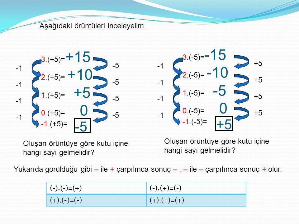 +5 -5 Aşağıdaki örüntüleri inceleyelim. 3.(-5)=-15 2.(-5)= -10