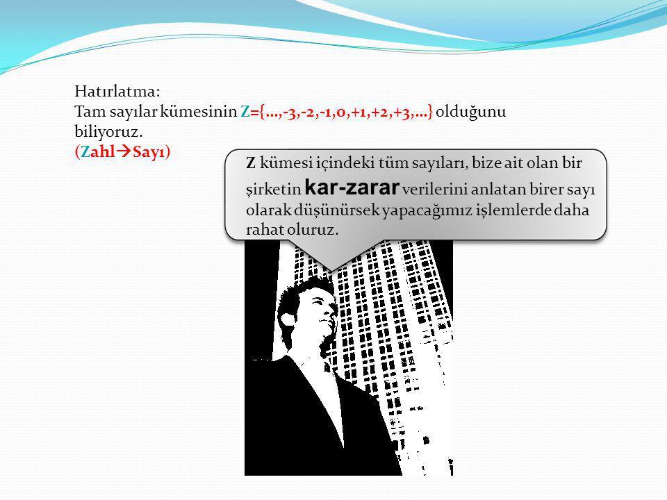 Hatırlatma: Tam sayılar kümesinin Z={…,-3,-2,-1,0,+1,+2,+3,…} olduğunu biliyoruz. (ZahlSayı)