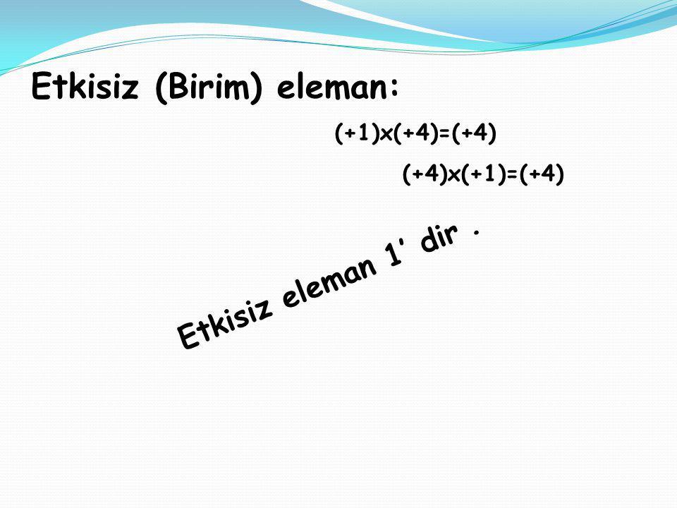 Etkisiz (Birim) eleman: