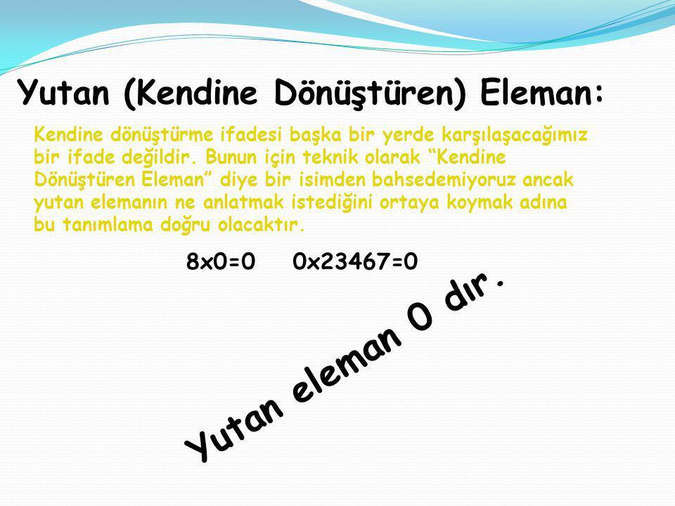 Yutan eleman 0 dır. Yutan (Kendine Dönüştüren) Eleman: 8x0=0 0x23467=0