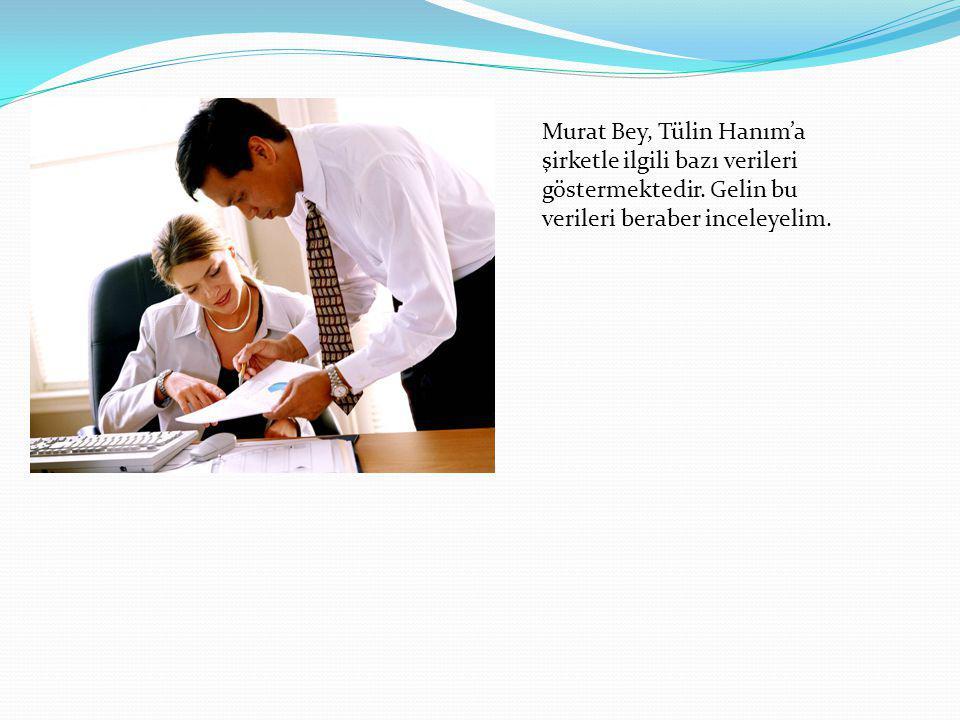 Murat Bey, Tülin Hanım'a şirketle ilgili bazı verileri göstermektedir