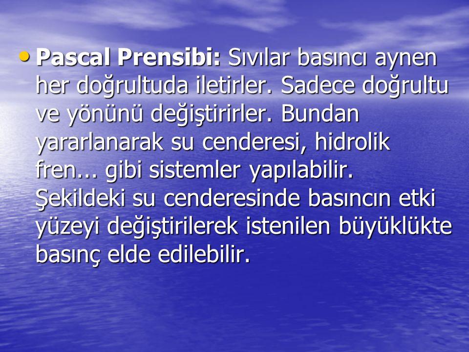 Pascal Prensibi: Sıvılar basıncı aynen her doğrultuda iletirler