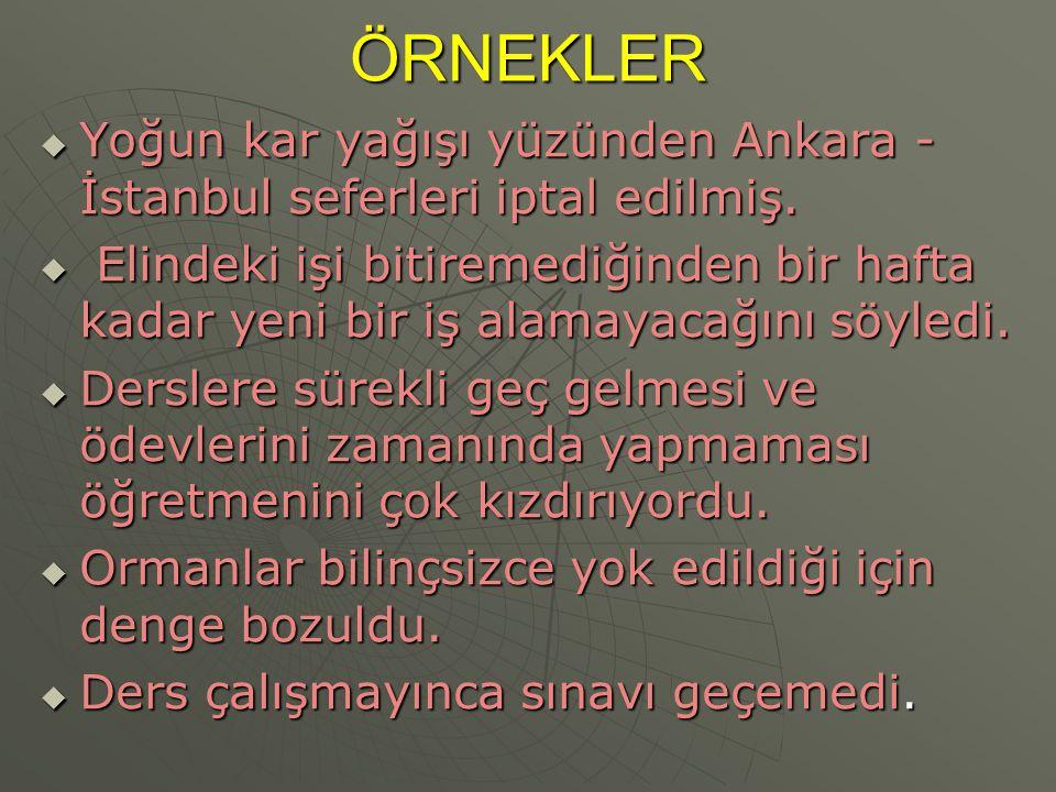 ÖRNEKLER Yoğun kar yağışı yüzünden Ankara - İstanbul seferleri iptal edilmiş.