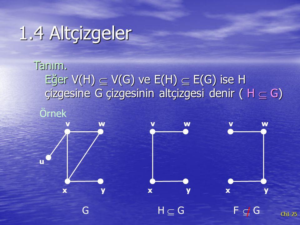 1.4 Altçizgeler Tanım. Eğer V(H)  V(G) ve E(H)  E(G) ise H çizgesine G çizgesinin altçizgesi denir ( H  G)