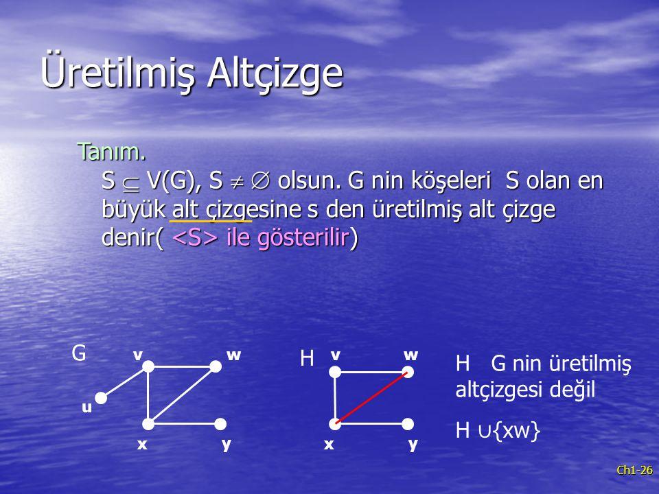 Üretilmiş Altçizge Tanım. S  V(G), S   olsun. G nin köşeleri S olan en büyük alt çizgesine s den üretilmiş alt çizge denir( <S> ile gösterilir)
