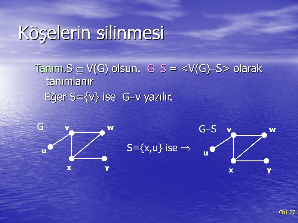 Köşelerin silinmesi Tanım.S  V(G) olsun. G-S = <V(G)-S> olarak tanımlanır. Eğer S={v} ise G-v yazılır.