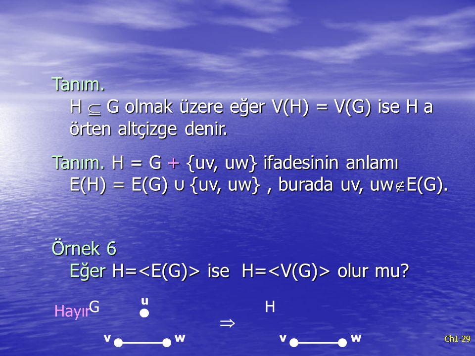 Örnek 6 Eğer H=<E(G)> ise H=<V(G)> olur mu