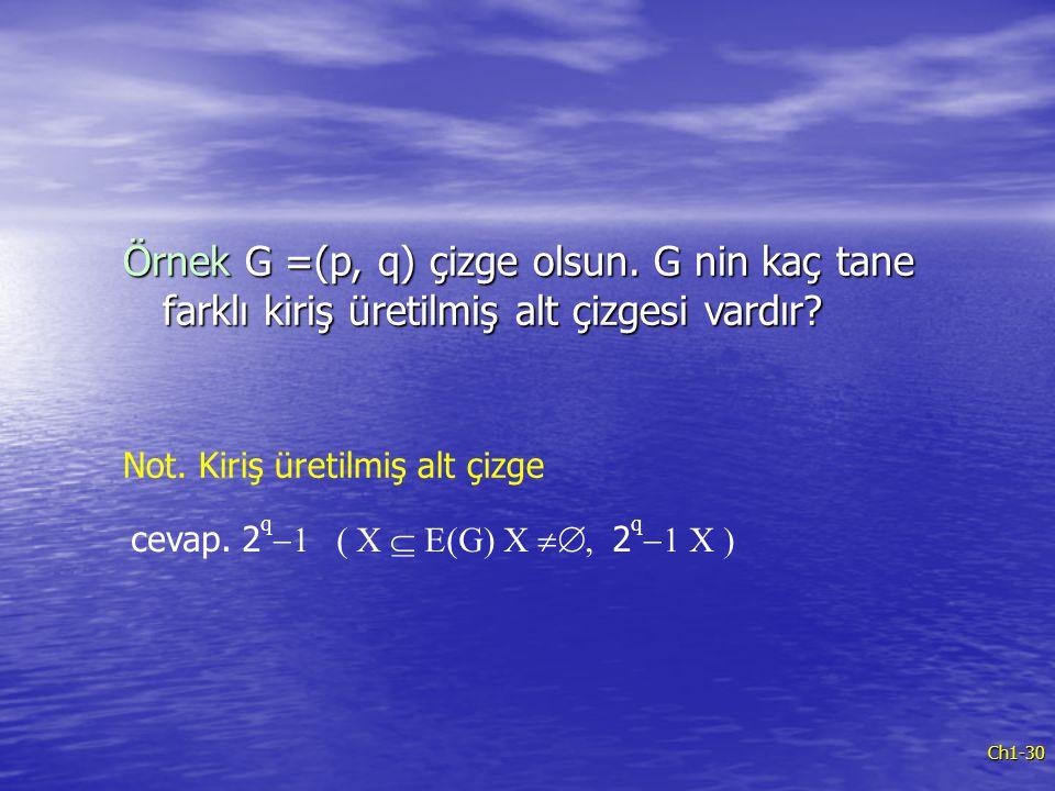 Örnek G =(p, q) çizge olsun