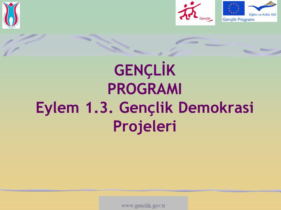 GENÇLİK PROGRAMI Eylem 1.3. Gençlik Demokrasi Projeleri