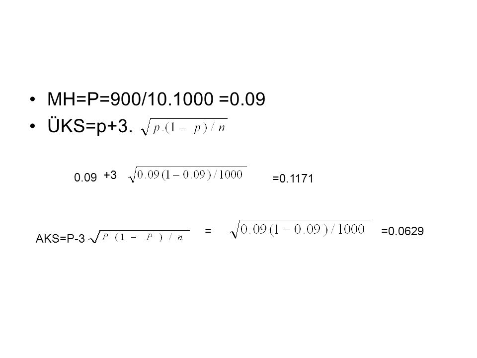 MH=P=900/10.1000 =0.09 ÜKS=p+3. 0.09 +3 =0.1171 = =0.0629 AKS=P-3