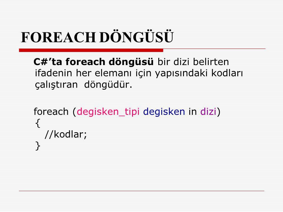 FOREACH DÖNGÜSÜ C#'ta foreach döngüsü bir dizi belirten ifadenin her elemanı için yapısındaki kodları çalıştıran döngüdür.