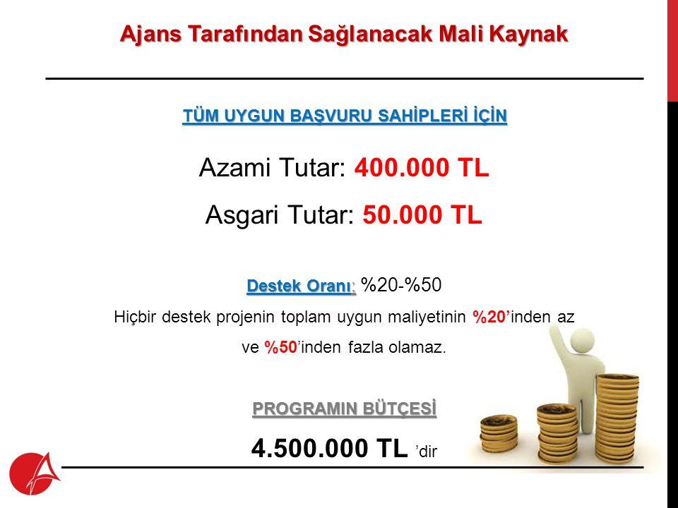 Azami Tutar: 400.000 TL Asgari Tutar: 50.000 TL 4.500.000 TL 'dir