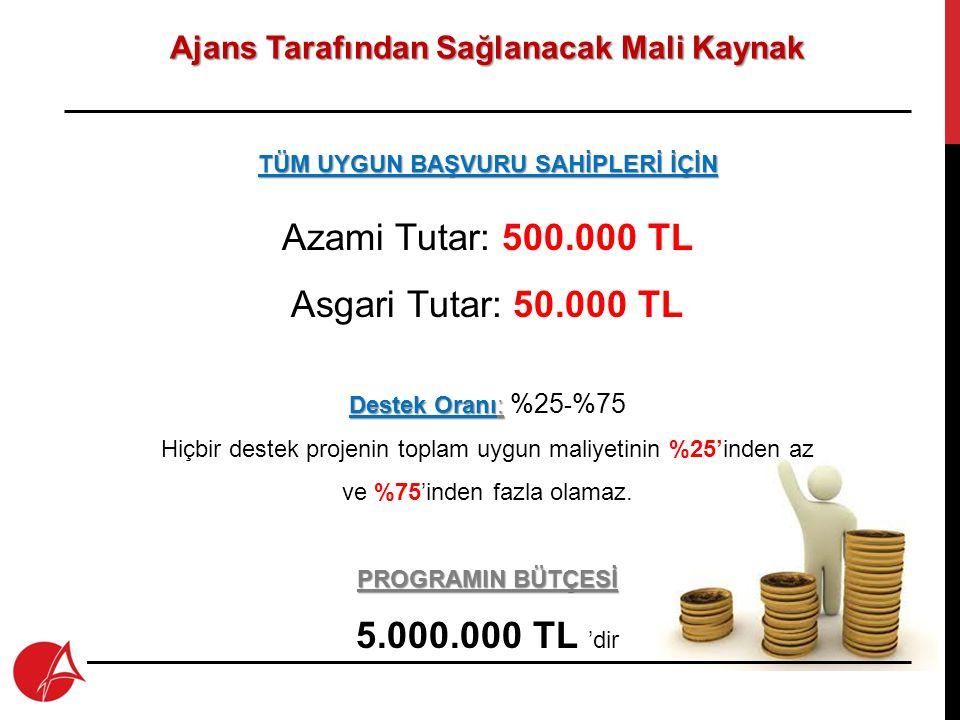 Azami Tutar: 500.000 TL Asgari Tutar: 50.000 TL 5.000.000 TL 'dir