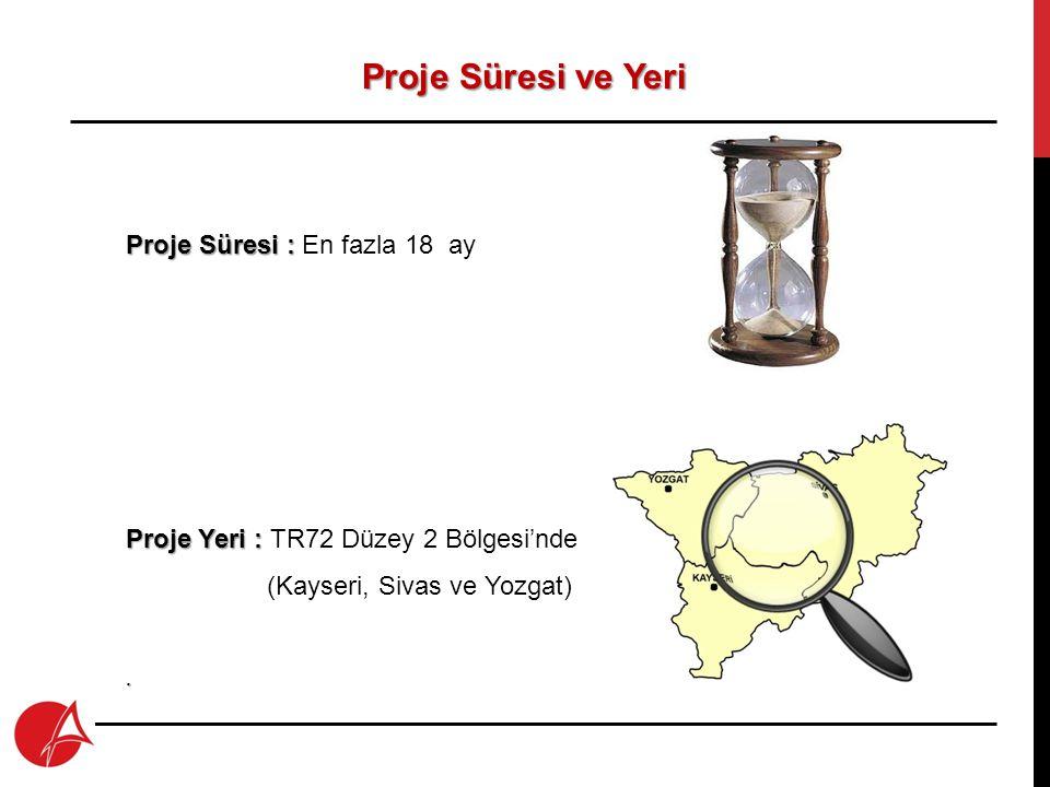 Proje Süresi ve Yeri Proje Süresi : En fazla 18 ay