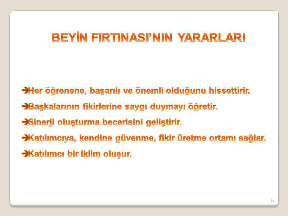 BEYİN FIRTINASI'NIN YARARLARI