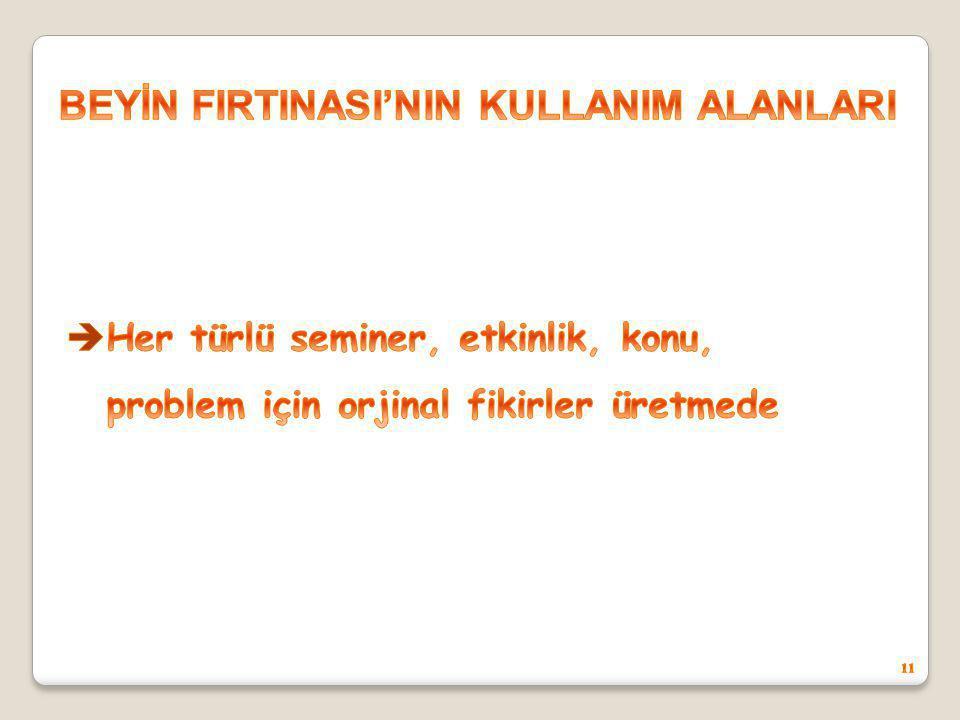 BEYİN FIRTINASI'NIN KULLANIM ALANLARI