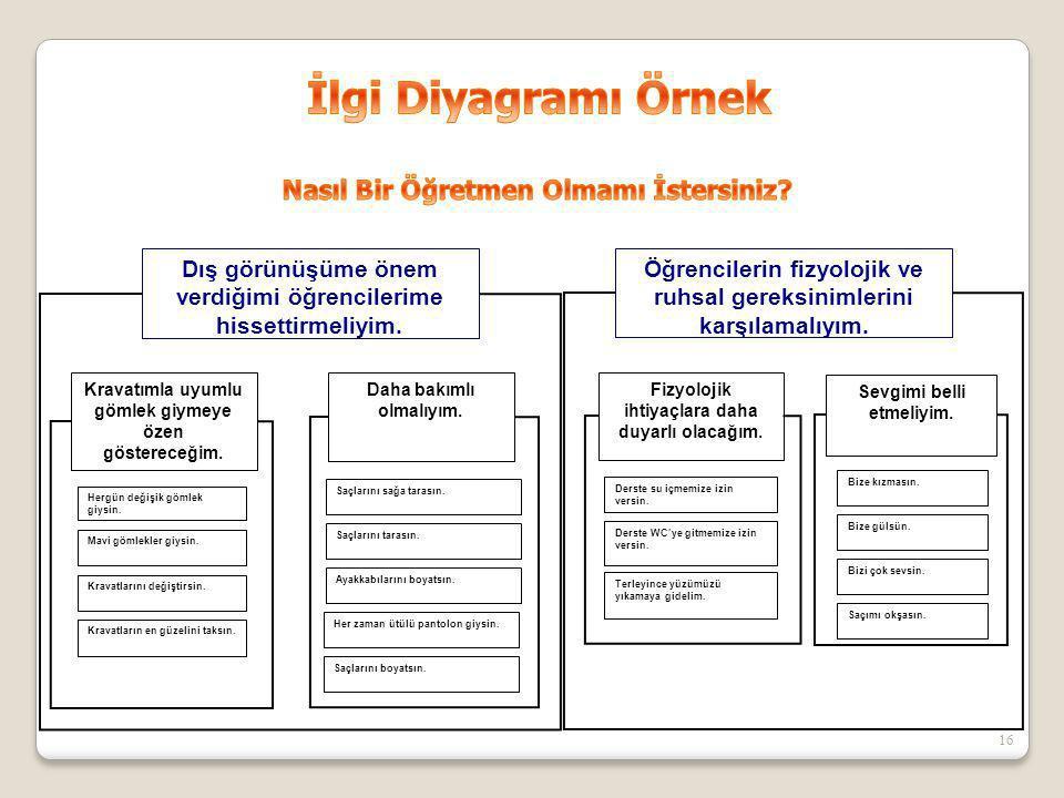 İlgi Diyagramı Örnek Nasıl Bir Öğretmen Olmamı İstersiniz