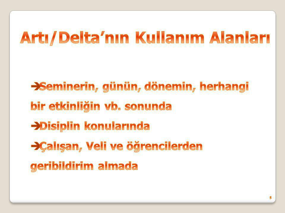 Artı/Delta'nın Kullanım Alanları