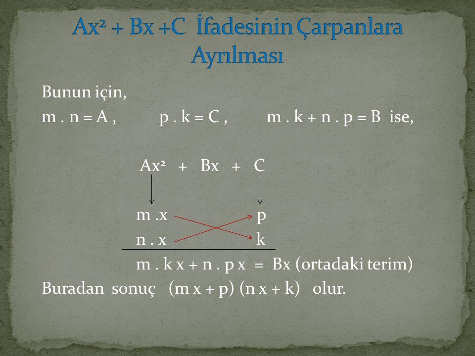 Ax2 + Bx +C İfadesinin Çarpanlara Ayrılması